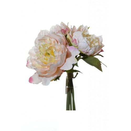 Peonia w bukiecie- Peony x3 cream-pink 26 cm