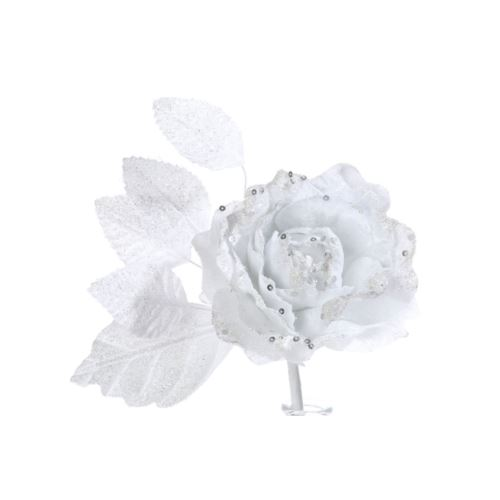 Róża brokat krótka biała