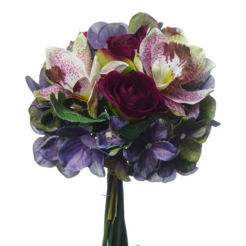 Bukiet z roza,storczykiem i hortensja