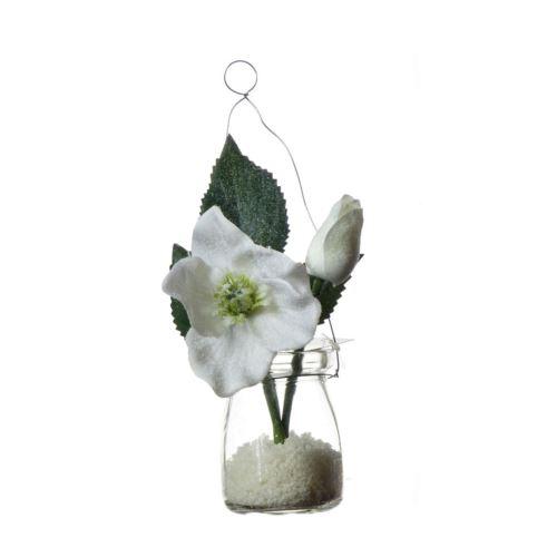 Śnieżny Halleborus w szkle z zawieszką 14cm white