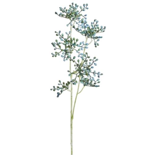 Glitter-Holunderzweig 3-f.64cm blau-grün