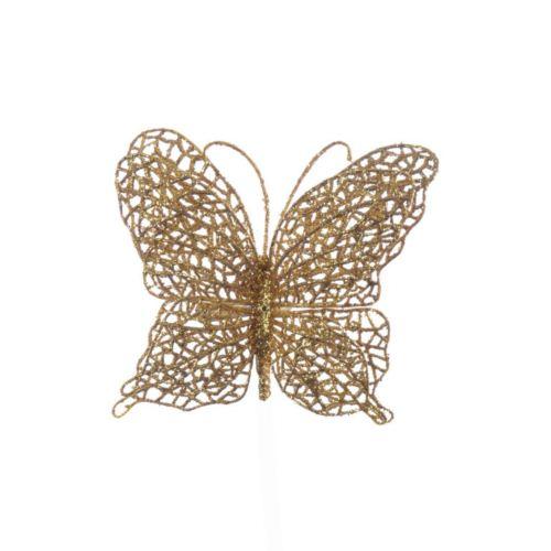 Motyl ażurowy na klipsie gold