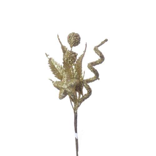 STROIK NA PIKU BROKAT gold gwiazdka kulka 16cm