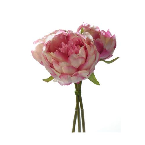 Peony-Bouquet with 3 flowers 20 cm pink-cream z-12