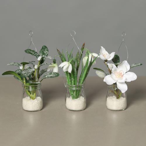 Ice-flower Jemioła in hanging glasss  21 cm