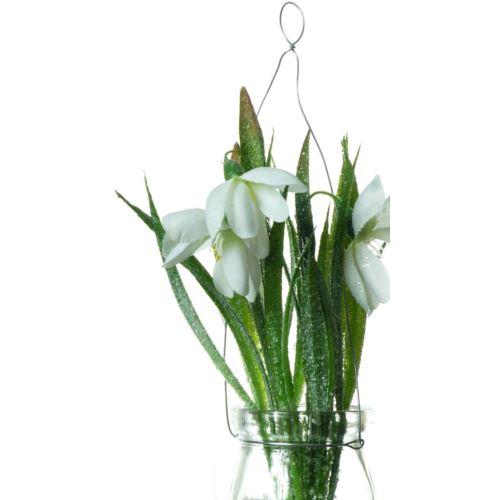 Ice-flower Przebiśnieg in hanging glasss  21 cm