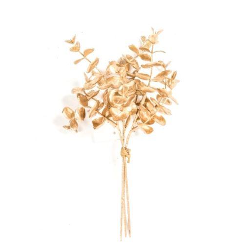 Glimmer-Eukalyptusbund x3 23cm gold-glimm