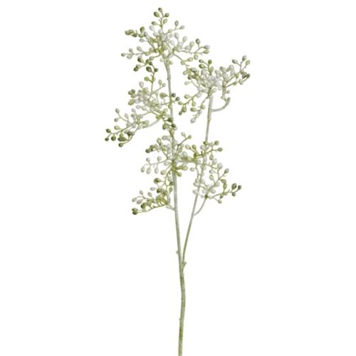 Glitter-Holunderzweig 3-f.64cm weiß-grün